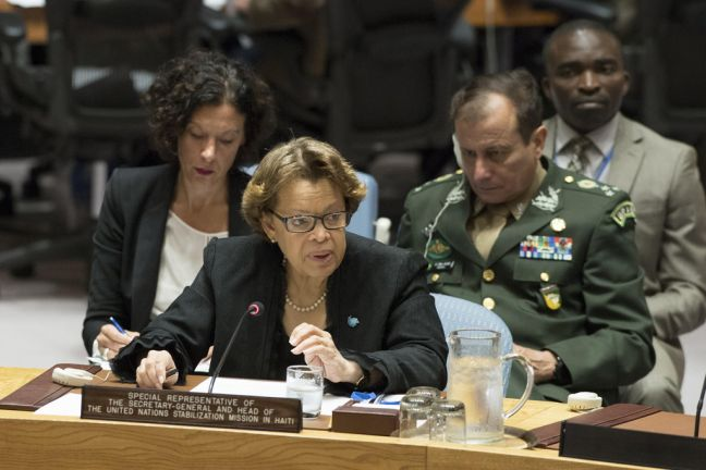 Sandra Honoré, Special Representative of the Secretary-General and Head of the UN Stabilization Mission in Haiti (MINUSTAH), briefs the Security Council. UN Photo/Eskinder Debebe