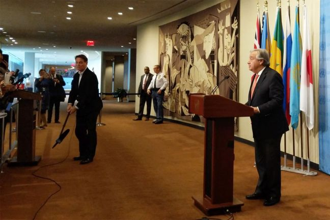 Secretary-General António Guterres addresses reporters at UN Headquarters. Photo: OSSG
