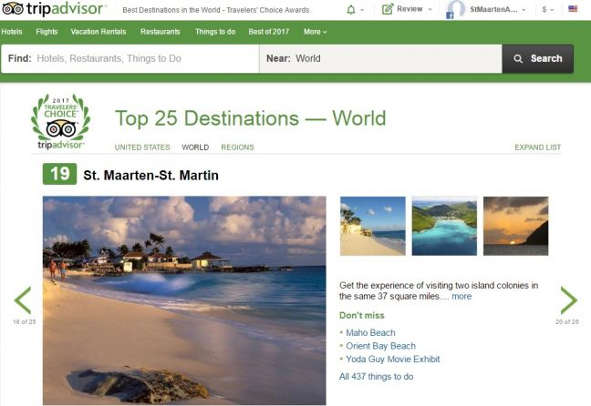 SINT MAARTEN BECOMES #2 CARIBBEAN, #19 WORLDWIDE DESTINATION