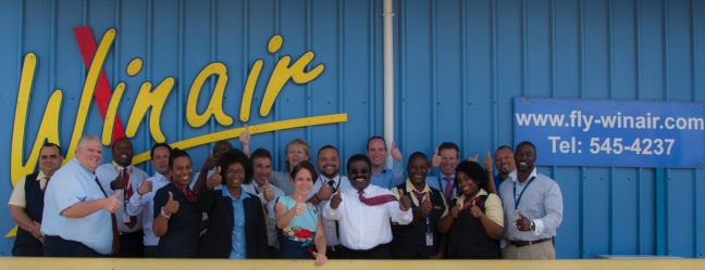 Part of the Winair team with the KLM/Air France auditors. (Photo contributed)