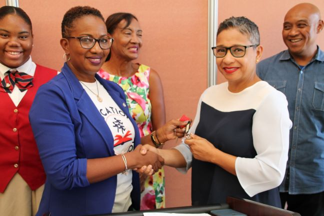 Minister Silveria Jacobs and Interim Director of the Board of CBA May-Ling Chun in this file photo handing over the keys to the Pavilion early December 2017.