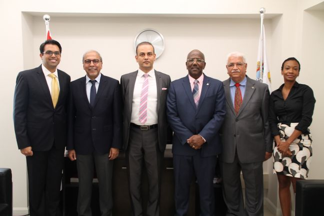 Ambassador of India to Venezuela and Consul General of India to Sint Maarten, Mr. Rahul Shrivastava (3rd from left) and Prime Minister the Honorable William Marlin.