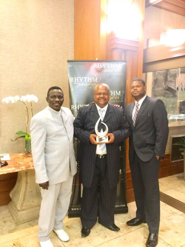 "L to R: Pastor Esmond Flemming, Andre ""The Apostle"" Webster, and Mario Gumbs shortly after receiving the award in Jacksonville, FL."