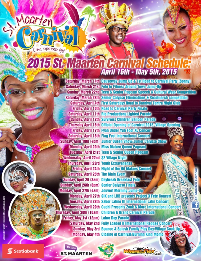 The 2015 Scotiabank Carnival Schedule of events.