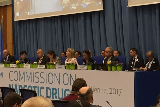 Executive Director of UNODC Yury Fedotov (third left) addresses the opening of the 60th session of the Commission on Narcotic Drugs (CND) in Vienna, Austria. Photo: UNIS Vienna