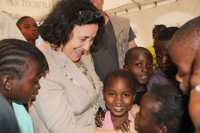 Special Representative for Children and Armed Conflict Leila Zerrougui in Central African Republic, meeting with children affected by the conflict in 2013. Photo: Office for Children and Armed Conflict/Stephanie Tremblay