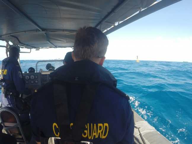 St. Maarten Coast Guard Personnel Patrolling with Nature Foundation Staff in the Man of War Shoals Marine Park.