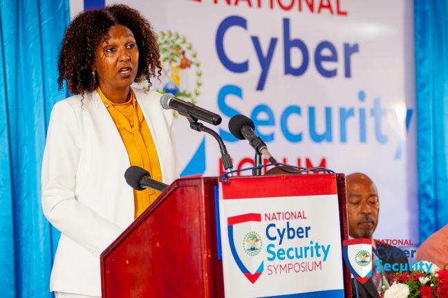 Kim Simplis-Barrow, Special Envoy for Women and Children in Belize, speaks on the opening day of the country's first national cybersecurity symposium, in Belize City from April 24 to 28, 2017. Photo courtesy Caribbean Network Operators Group.