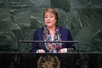 President Michelle Bachelet Jeria of Chile addresses the general debate of the General Assembly's seventieth session. UN Photo/Amanda Voisard