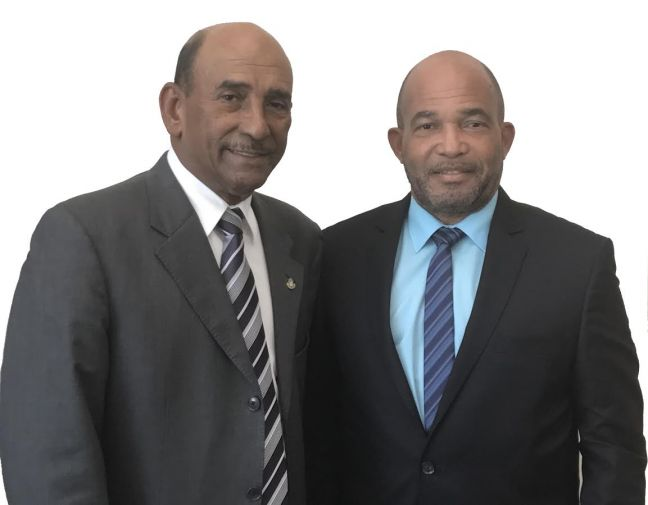 Minister of Finance Richard Gibson Sr. & Minister of Finance Curacao Kenneth Gijsbertha. (Photo contributed)