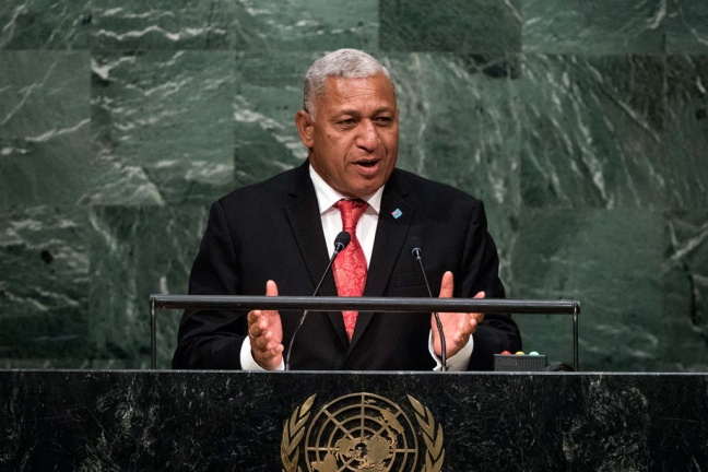 Prime Minister Josaia V. Bainimarama of Fiji and Commander of the Fiji Military Forces addresses the general debate of the General Assembly's seventieth session. UN Photo/Cia Pak