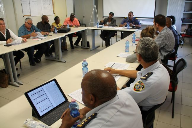 A photo of the EOC Meeting on Monday at the conference room of the Fire/Ambulance Department in Cay Hill where the fire on Pond Island was discussed.  The meeting was chaired by Prime Minister Leona Romeo Marlin.