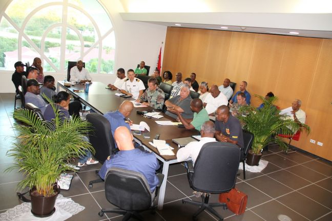 Prime Minister William Marlin earlier this week chairing one of several EOC Meetings related to national preparations for Hurricane Irma.