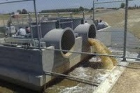 Image of a storm water pump in action.