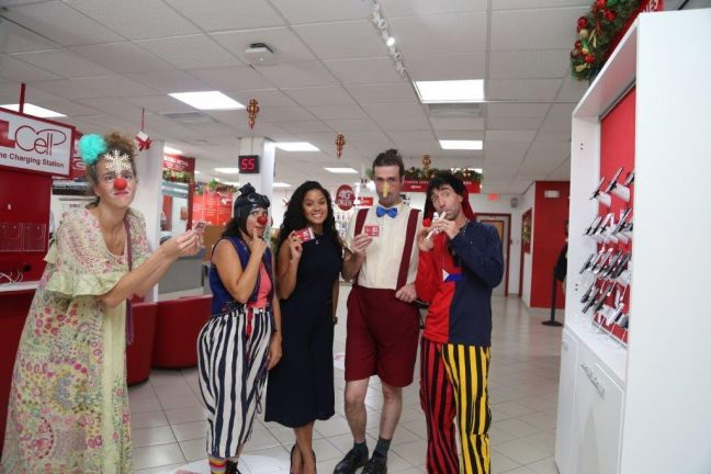 Visiting clowns from the internationally reknowned Clowns Without Borders group came calling on TelEm Group Tuesday and brought welcome smiles to the faces of  customers and staff. They received TelCell 4G LTE sim cards and free data use for their efforts from TelEm Group Officer Marketing & Sales Staphani Jong Loy (Center) .