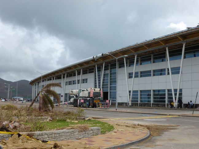SXM Airport Terminal Building. Clean-up crews have been working on a daily basis to clear the airport grounds of hurricane debris.