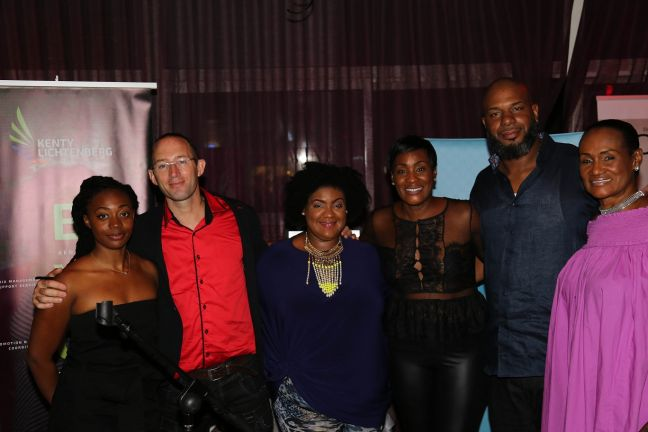 From left to right: Vocalist Yvelle Daninthe, Jeremy Huot, Kenty Lichtenberg (Be Your Own Brand), Tamara Lloyd (T's Closet), Kyran Williams (Nicanoir Kreative), Mercedes Fleming (T's Closet.