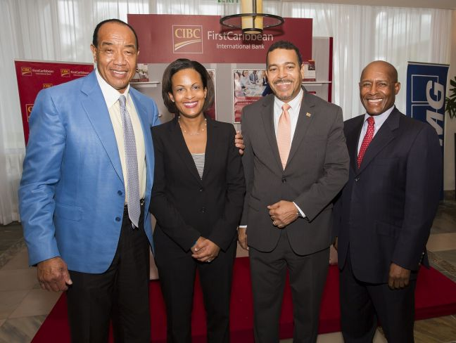 L to R: Michael Lee-Chin, President and Chairman, Portland Holdings; Marie Rodland-Allen, Managing Director, CIBC FirstCaribbean International Bank, The Bahamas; Nigel Holness, Managing Director, CIBC FirstCaribbean International Bank, Jamaica and Senator Aubyn Hill at the Caribbean Infrastructure Forum at the Hilton Rose Hall, Montego Bay, December 11-12, 2017. Mr. Lee-Chin was guest speaker on Day 2 (Dec. 12, 2017) at the Forum hosted by IJ Global and New Energy Events and sponsored by CIBC FirstCaribbean and KPMG.