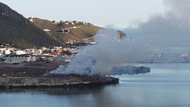 File photo of a landfill fire at Pond Island.