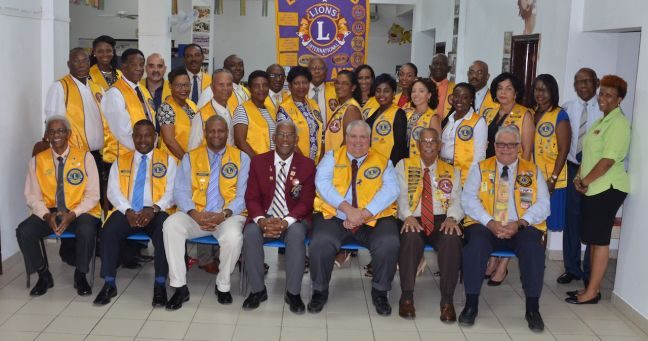 St. Maarten Lions Club board and members with Immediate Past District Governor Lion Errol Lee in April 2017.