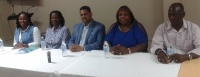 """Earlier today SMUMF held a press conference to invite the entire community to St. Martin Believers' Connection Convention 2015. Pictured left to right are Minister Torana Bryan-Granston, Pastor Rita Edwards, Bishop"