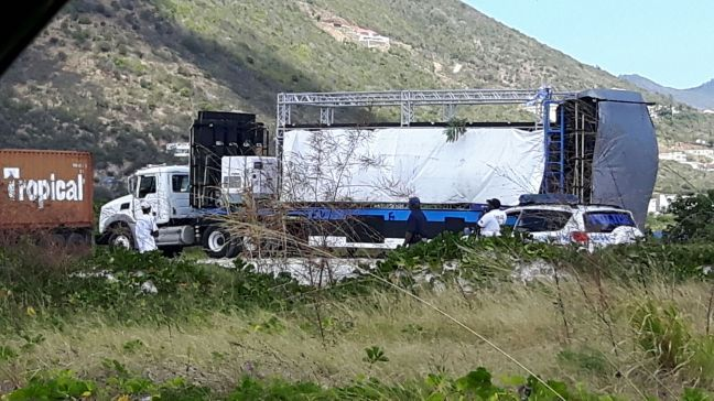 The Traffic Department of the Police Force of St. Maarten conducted inspection of the four trucks and trailers this past Saturday. (Photo contributed)