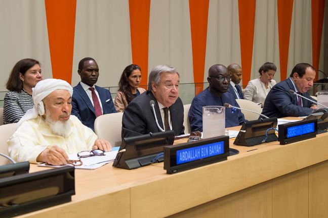 United Nations Secretary-General António Guterres speaks at the launch of the Plan of Action for Religious Leaders and Actors to Prevent Incitement to Violence that Could Lead to Atrocity Crimes. Photo: UN Photo/ Eskinder Debebe