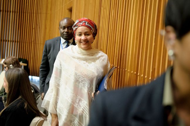 "Deputy Secretary-General Amina Mohammed arrives to take part in an interactive discussion on ""Public Policies for Happiness,"" marking the International Day of Happiness (20 March). UN Photo/Manuel Elias"