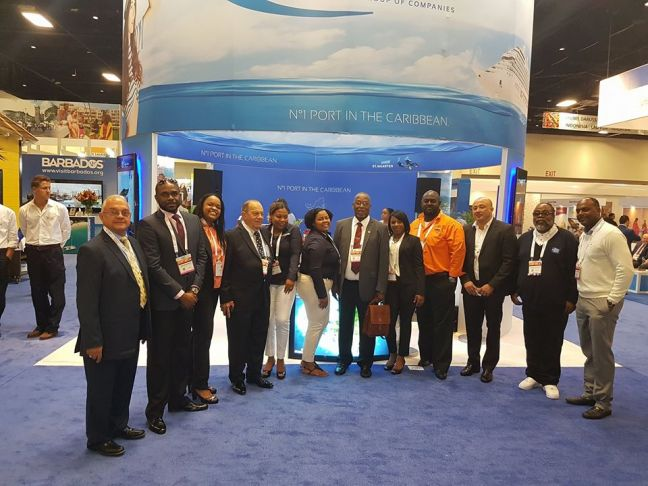 Acting Minister of Tourism & Economic Affairs Rafael Boasman (7th from left) along with Port St. Maarten Supervisory Board Members, Management and Staff as well as stakeholders from the Sint Maarten cruise sector at Seatrade Cruise Global.