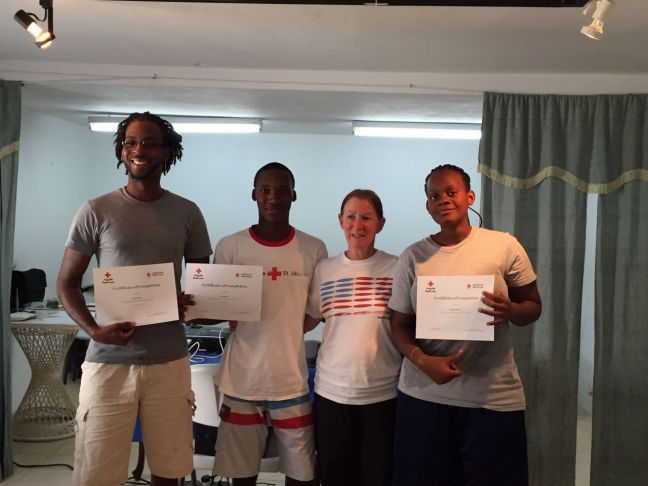 (L-R): Trevor Queeley (staff member of Anguilla Red Cross, Water Safety & First Aid Instructor), Travin Joseph (Water Safety Instructor & Vice President Youth Chapter), Bonnie Griswold (American Red Cross Water Safety Instructor Trainer) and Prudence Williams (Water Safety Instructor & Youth President) not pictured Frank Cannon (Chair of Anguilla Red Cross, Water Safety & First Aid Instructor), Keith Robinson (Water Safety & First Aid Instructor) & Joseph Williams (Water Safety Instructor).