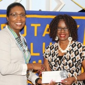 SCOTIABANK PRESENTS CHECK TO ROTARY-ROTARACT FOR SPELLING BEE. KICK-OFF IS OCTOBER 16