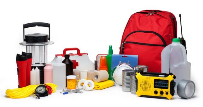 Some of the items that are part of a Disaster Kit.