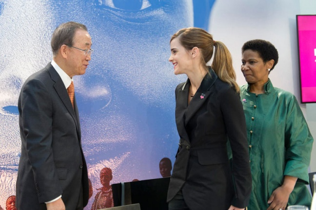 Secretary-General Meets UN Women Goodwill Ambassador Emma Watson in the presence of Phumzile Mlambo-Ngcuka, Executive Director of UN Women. UN Photo/Mark Garten