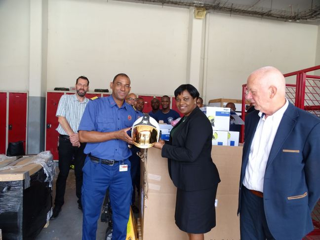 Handing over of the First Response Emergency Equipment by the Prime Minister to the Chief of the Fire Department.