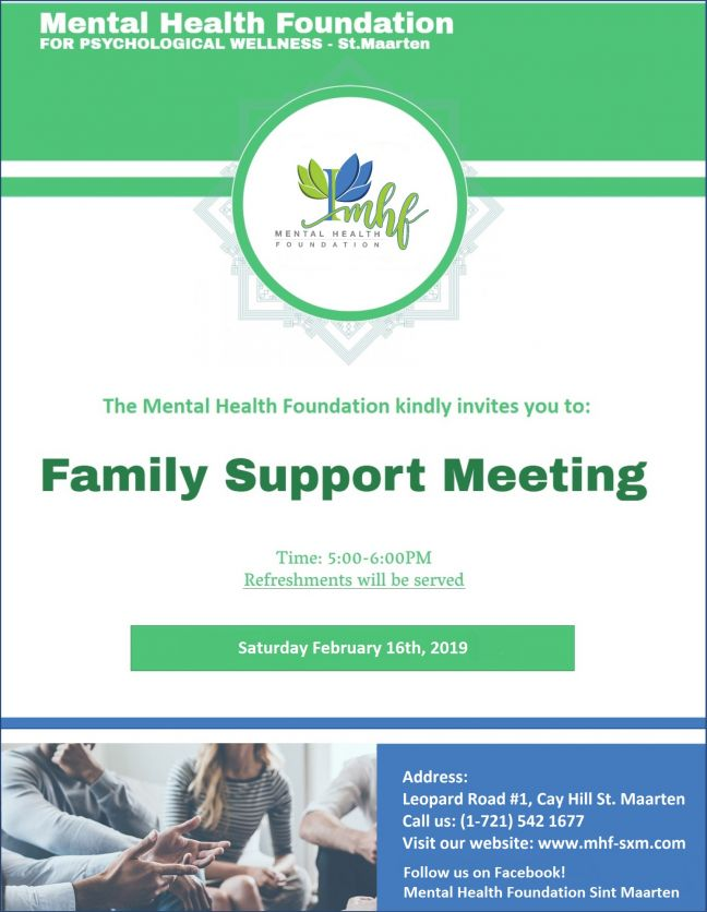 Mental Health Foundation Organizing February 16 Family Support Meeting