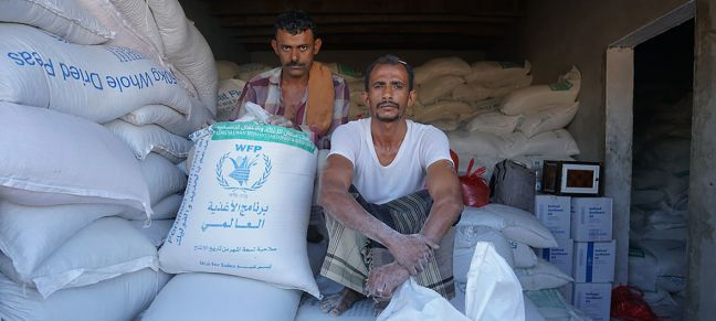 Giles Clarke/OCHA Cereal stored in Dhubab, Taiz Gobernorate, in Yemen. The World Food Programme (WFP) grain stored in Hudaydah's Red Sea Mills has been inaccessible for over five months and is at risk of rotting.