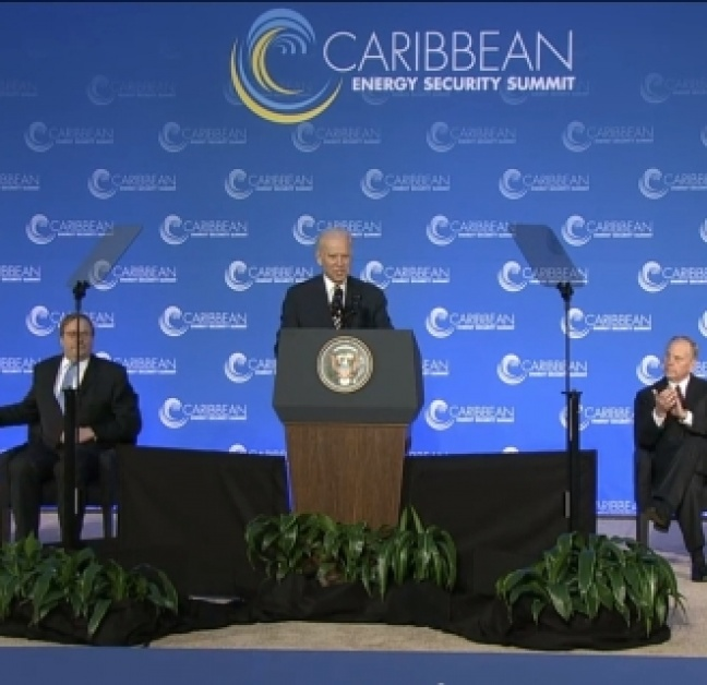 US Vice President Biden addressing the summit leaders of Government from across the Caribbean on January 26 in Washington DC.