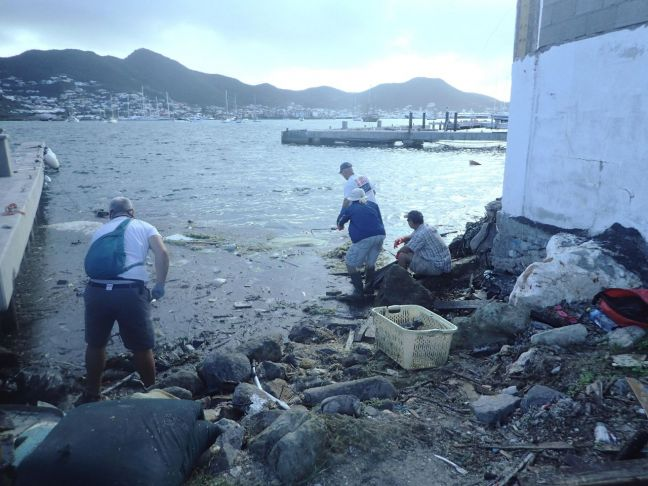 Mason Chadwick and crew cleaning the Simpson Bay Lagoon (EPIC Photo)