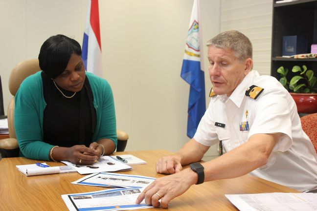 Prime Minister Leona Romeo Marlin & Commander of the Netherlands Forces in the Caribbean Peter Jan de Vin.