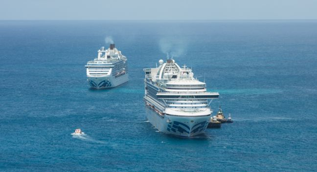 Princess Cruises ships anchored outside Port St. Maarten on Tuesday. (Port St. Maarten Photo)