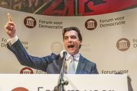 Thierry Baudet during his victory speech. Photo: Leander Varekamp/HH