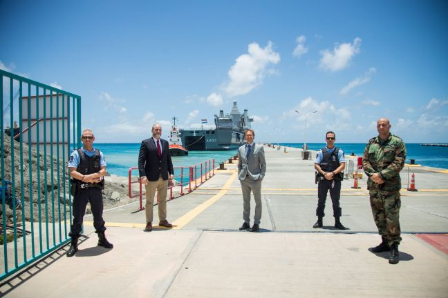 Photo contributed.  Chris Johnson (2nd from left) along with other officials at Port St. Maarten on Friday.