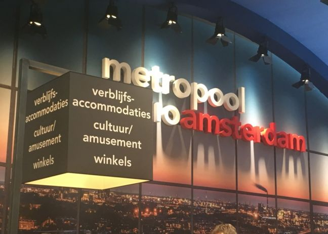 Amsterdam advertising itself at a property trade fair. Photo: DutchNews