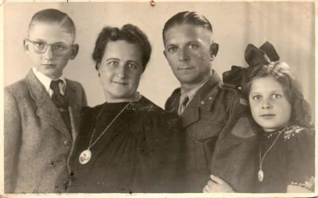 The Van Veen family in Alkmaar, Netherlands, 1946, L-R: Gerard (author as a boy), author's mother Annie, father Dick, and sister Tiny. (Credit G. van Veen)
