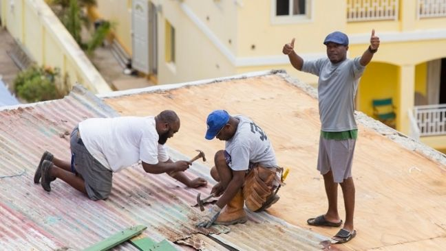 World Bank photo of Sint Maarten roof repairs.