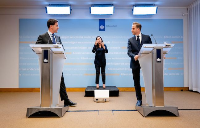 Mark Rutte and Hugo de Jonge at the press conference. Photo: Bart Maat ANP