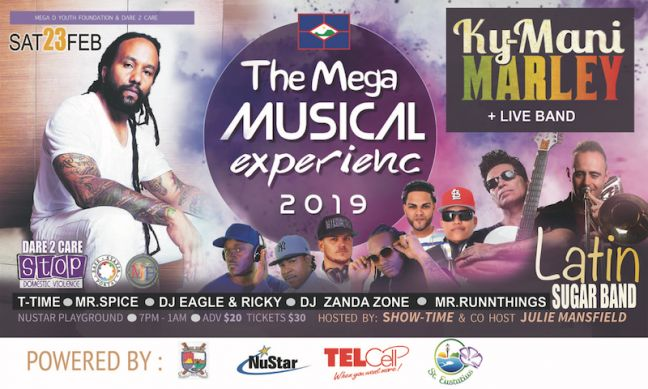Ky-Mani Marley and the Latin Sugar Band are two of the headliners bringing attention to Domestic Violence in St. Eustatius in what is expected to be a sell-out concert, Saturday, February23, 2019.