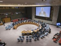 UN Photo/Rick Bajornas Nickolay Mladenov (on screen), the UN Special Coordinator for the Middle East Peace Process, briefs the Security Council.