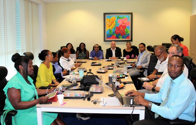 A group of stakeholders in the hospitality industry on French and Dutch St. Maarten pause for a photo during one of their monthly meetings held on September 6th at the Port St. Maarten's Conference Room. Meeting chaired by PJIA Chief Financial Officer and Acting Chief Executive Officer Ravi Daryanani (seventh from the left) and First Vice President of the Collectivite de Saint Martin Valerie Damaseau (sixth from the left).