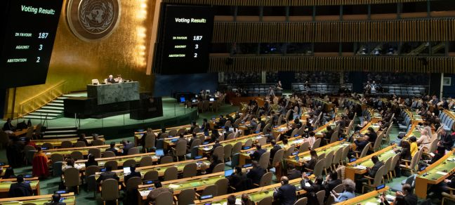 UN Photo/Evan Schneider UN General Assembly votes on the necessity of ending the economic, commercial and financial embargo imposed by the United States against Cuba.